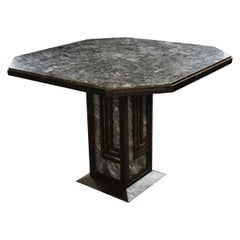 French Early 20th Century Art Deco Iron and Marble Table