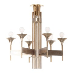 French Early 20th Century Art Deco Modernist Chandelier