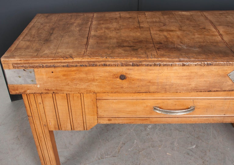 French Early 20th Century Art Deco Pine Butcher Block For
