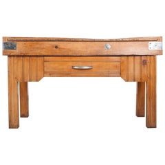 French Early 20th Century Art Deco Pine Butcher Block