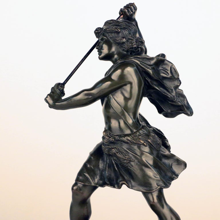 French, Early 20th Century Bronze, David Beheading Goliath For Sale 4