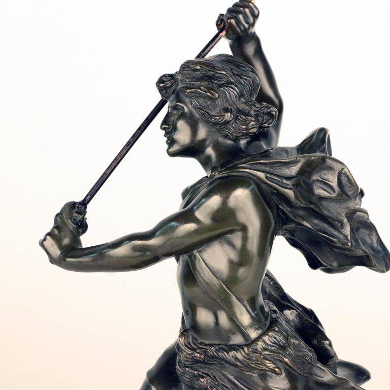 French, Early 20th Century Bronze, David Beheading Goliath For Sale 5