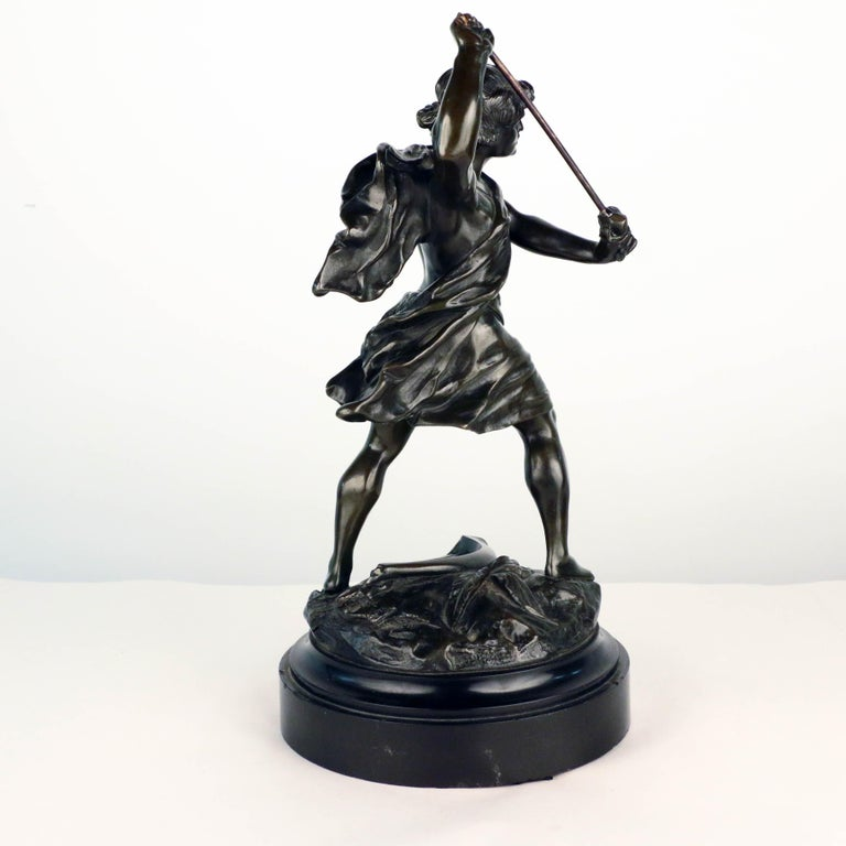 Cast French, Early 20th Century Bronze, David Beheading Goliath For Sale