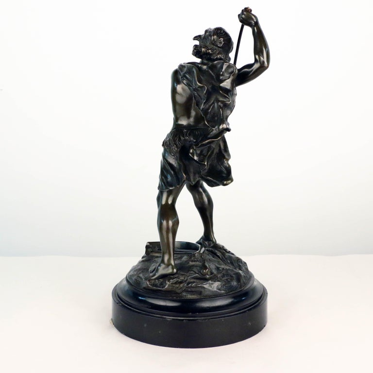 French, Early 20th Century Bronze, David Beheading Goliath In Good Condition For Sale In Montreal, QC