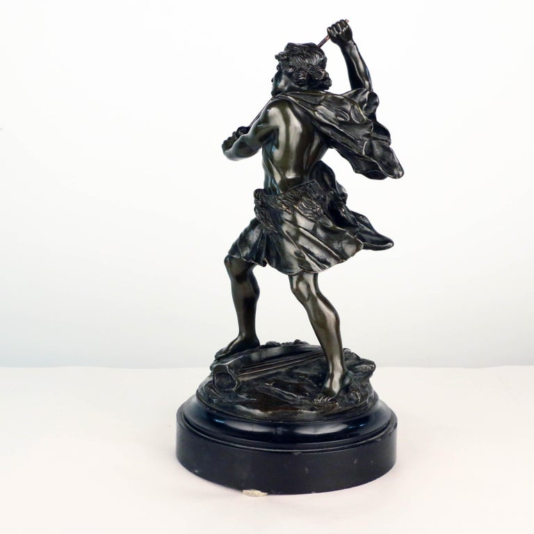 19th Century French, Early 20th Century Bronze, David Beheading Goliath For Sale