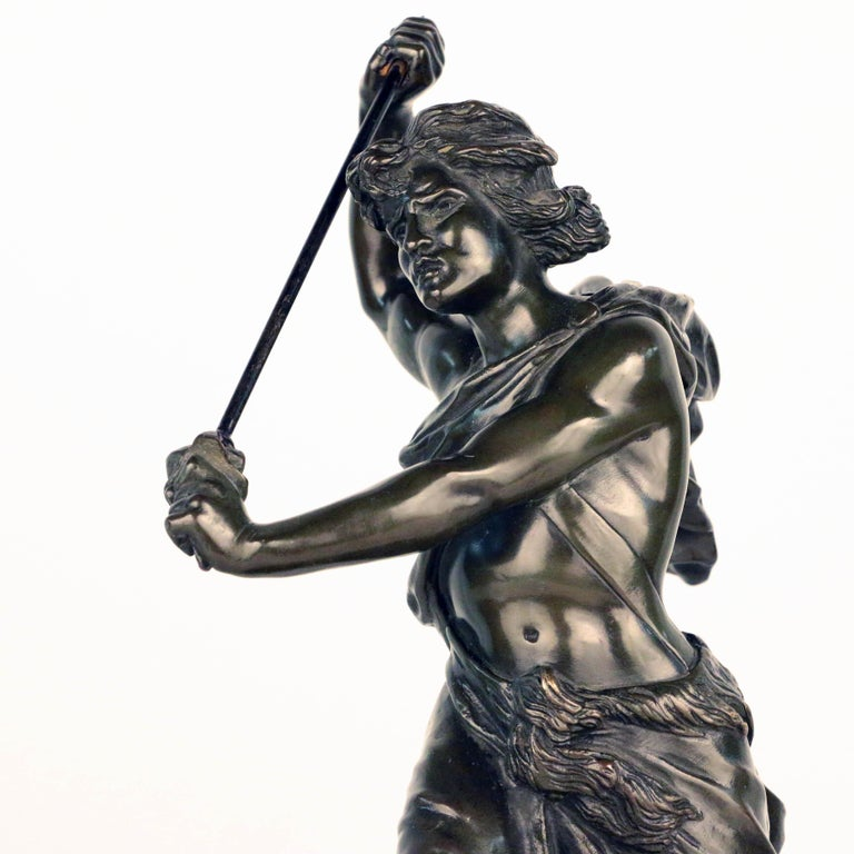 French, Early 20th Century Bronze, David Beheading Goliath For Sale 1