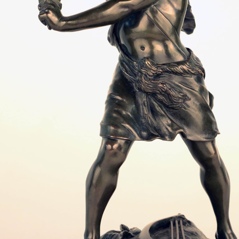 French, Early 20th Century Bronze, David Beheading Goliath For Sale 2