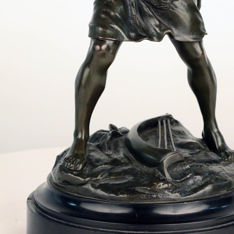 French, Early 20th Century Bronze, David Beheading Goliath For Sale 3
