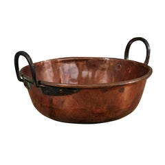 French Early 20th Century Circular Copper Pot with Two Lateral Iron Handles