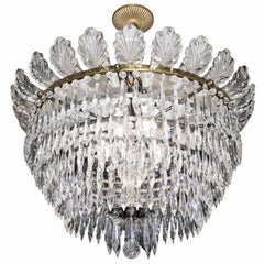 French Early 20th Century Crystal and Gilt Chandelier