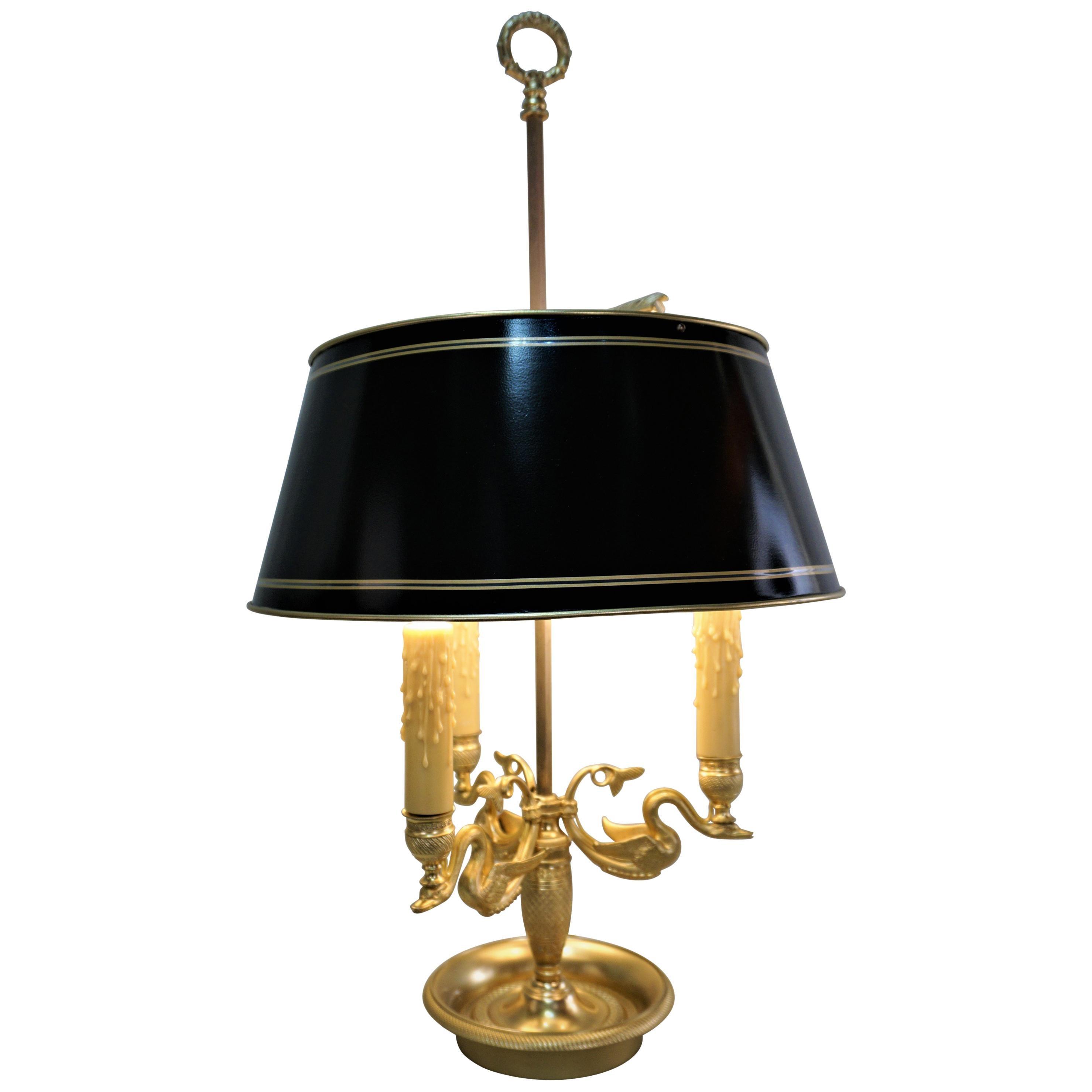 French Early 20th Century Dore Bronze Bouillotte Desk Lamp