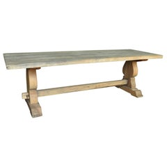 French Early 20th Century Farm Table, Trestle Table