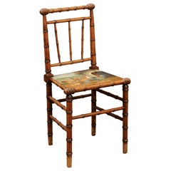 French Early 20th Century Faux Bamboo Chair with Chicken and Rooster Painting