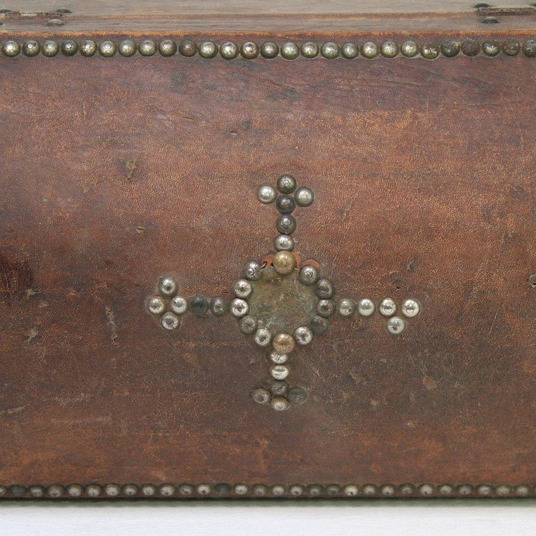 French Early 20th Century Folk Art Vintage Leather Box For Sale 8