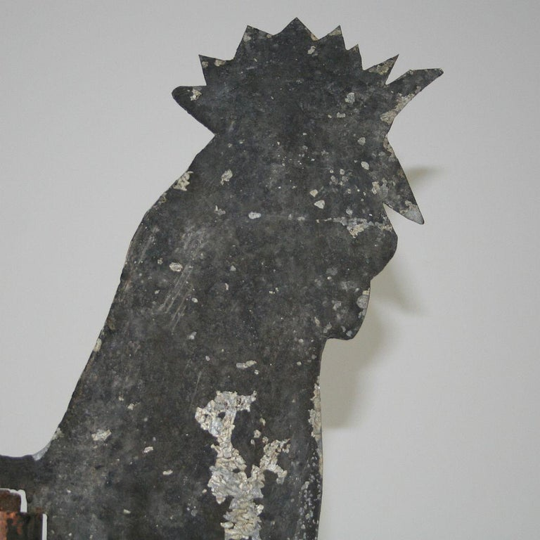 French Early 20th Century Folk Art Zinc Rooster/Cockerel Weathervane For Sale 7