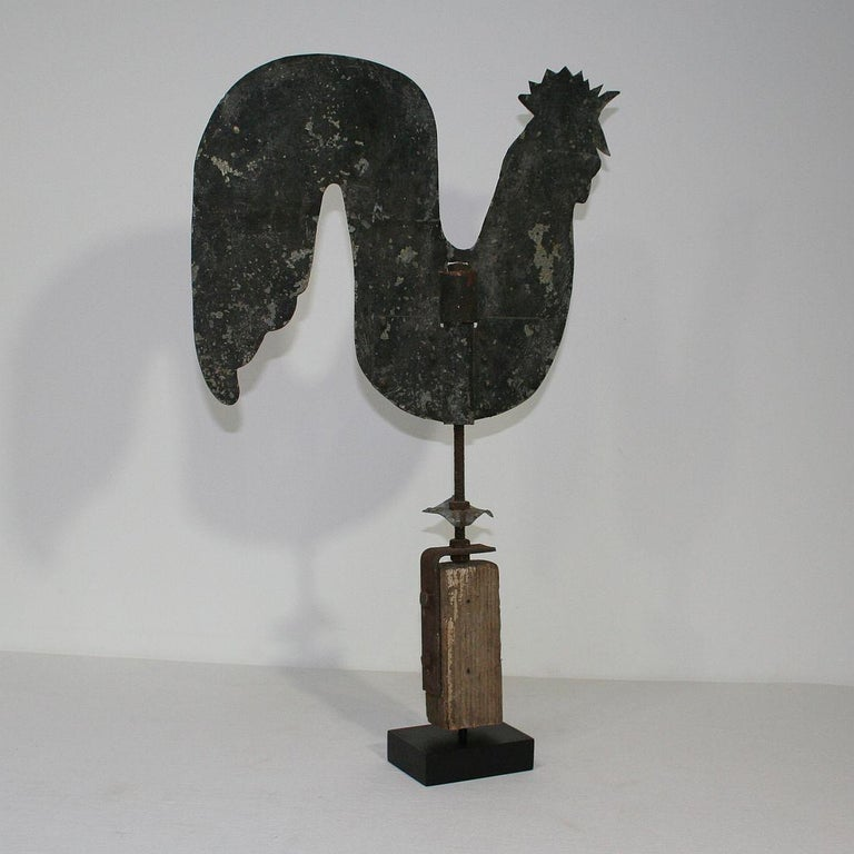 French Early 20th Century Folk Art Zinc Rooster/Cockerel Weathervane In Good Condition For Sale In Amsterdam, NL