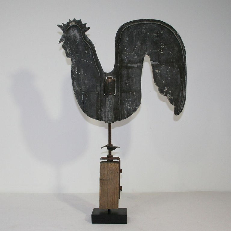 19th Century French Early 20th Century Folk Art Zinc Rooster/Cockerel Weathervane For Sale