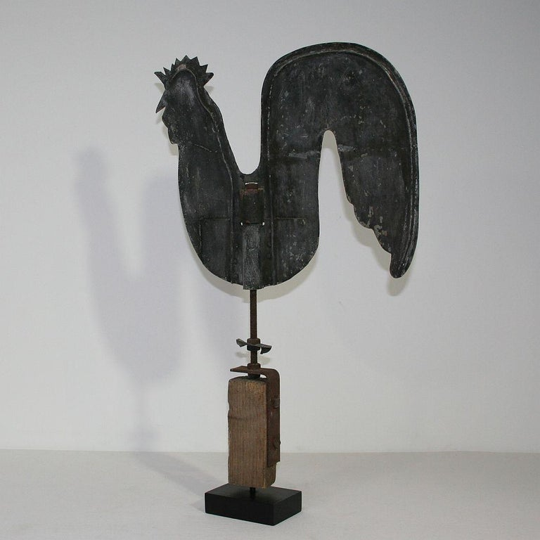 French Early 20th Century Folk Art Zinc Rooster/Cockerel Weathervane For Sale 2