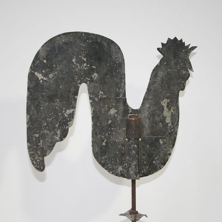 French Early 20th Century Folk Art Zinc Rooster/Cockerel Weathervane For Sale 5