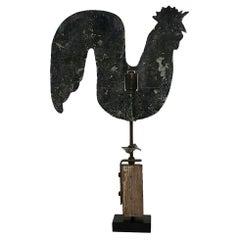 French Early 20th Century Folk Art Zinc Rooster/Cockerel Weathervane