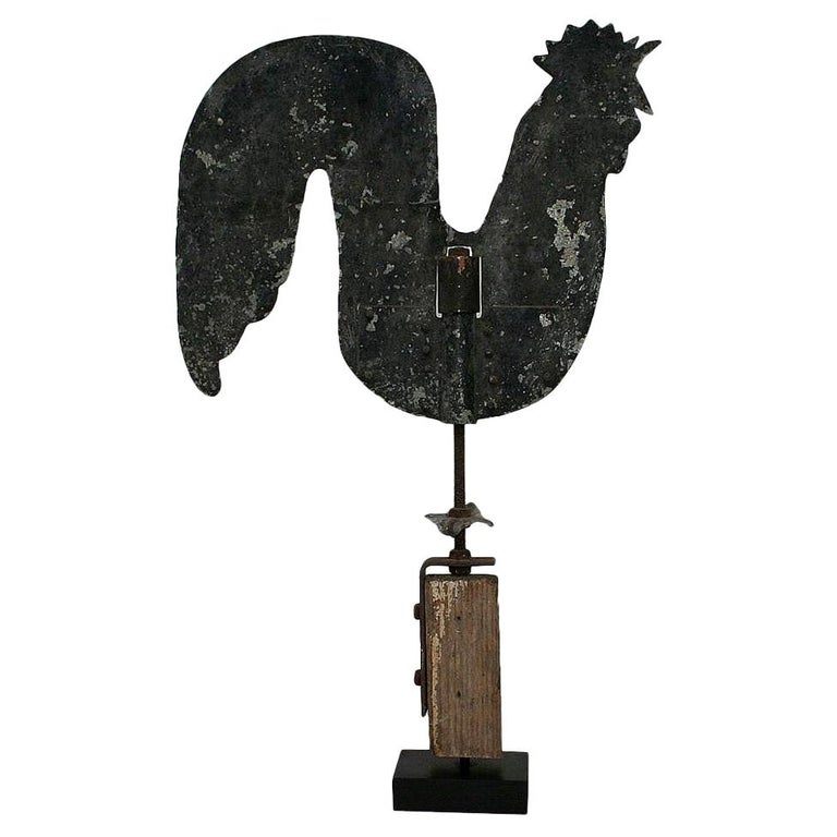 French Early 20th Century Folk Art Zinc Rooster/Cockerel Weathervane For Sale