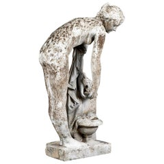 French Early 20th Century Garden Statue of Young Woman Bathing