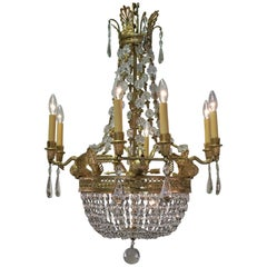French Early 20th Century Gilt Bronze and Crystal Chandelier