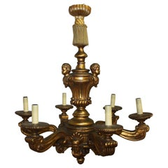 French Early 20th Century Giltwood Chandelier