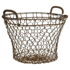 French Early 20th Century Iron Wirework Oyster Basket