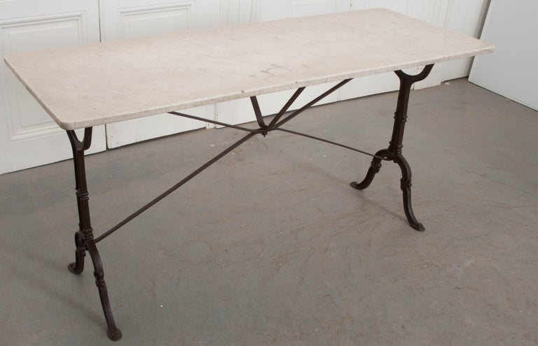 Cast French Early 20th Century Long Marble-Top Bistro Table For Sale