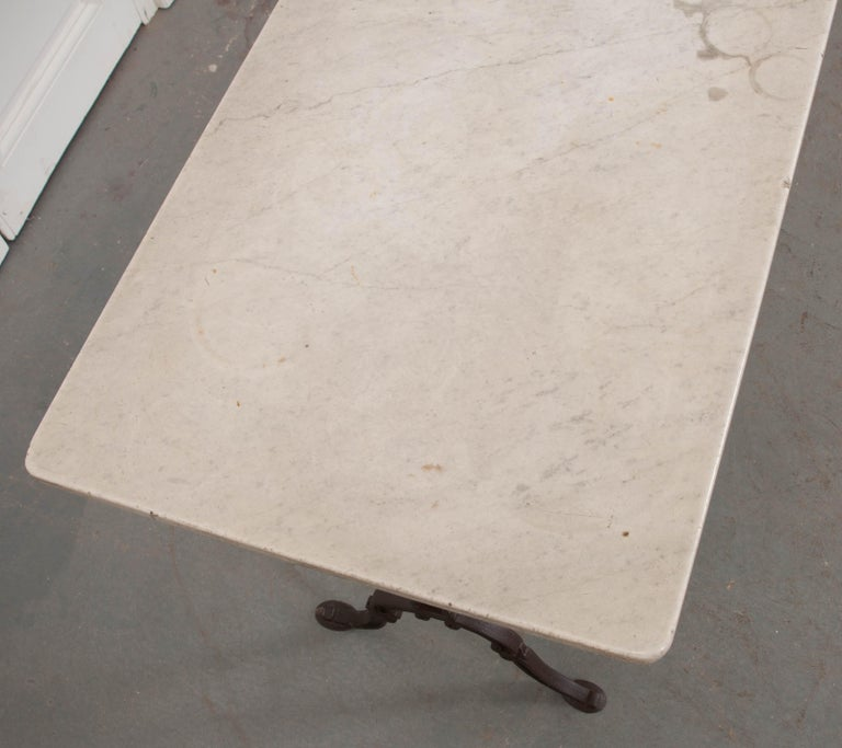 Iron French Early 20th Century Long Marble-Top Bistro Table For Sale