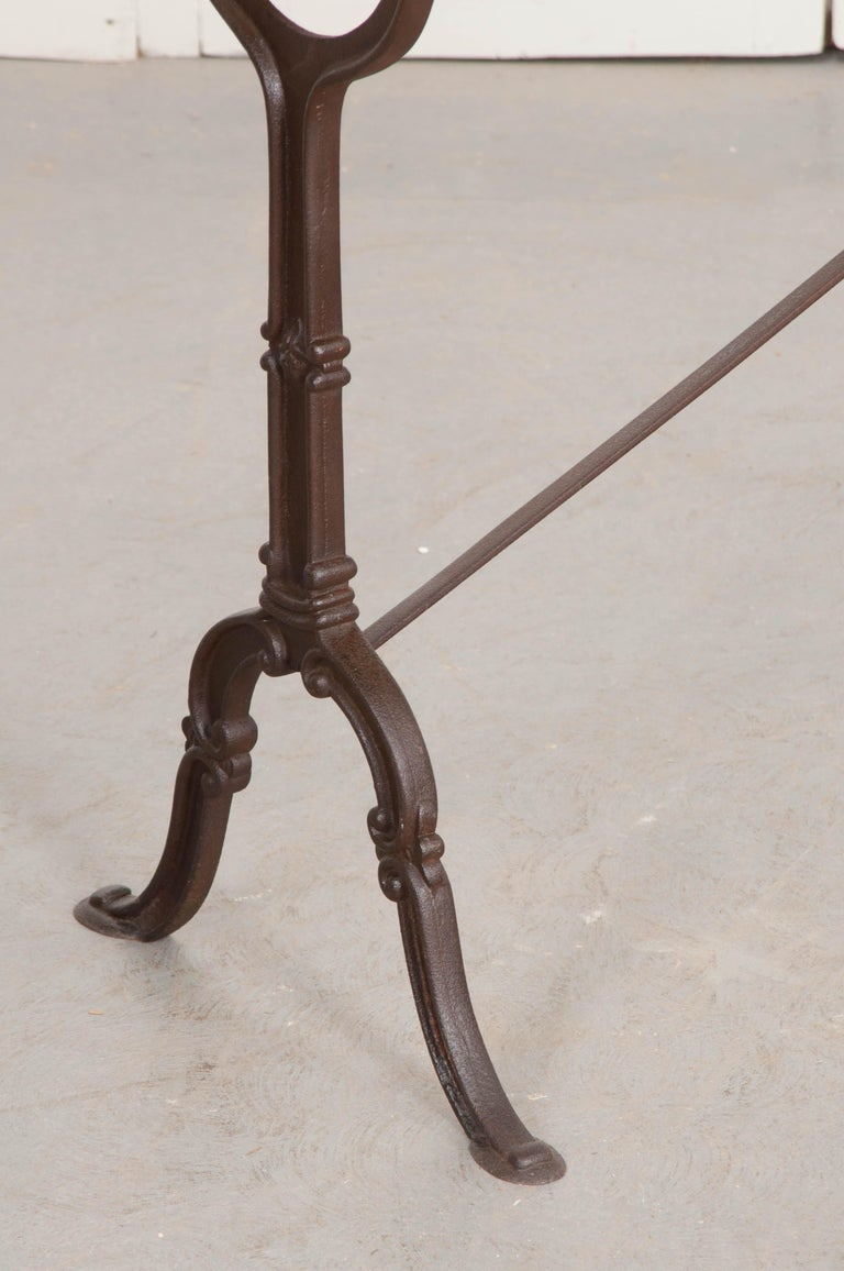 French Early 20th Century Long Marble-Top Bistro Table For Sale 2