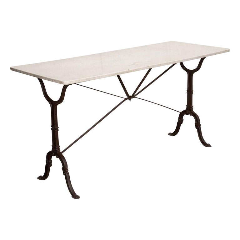 French Early 20th Century Long Marble-Top Bistro Table For Sale