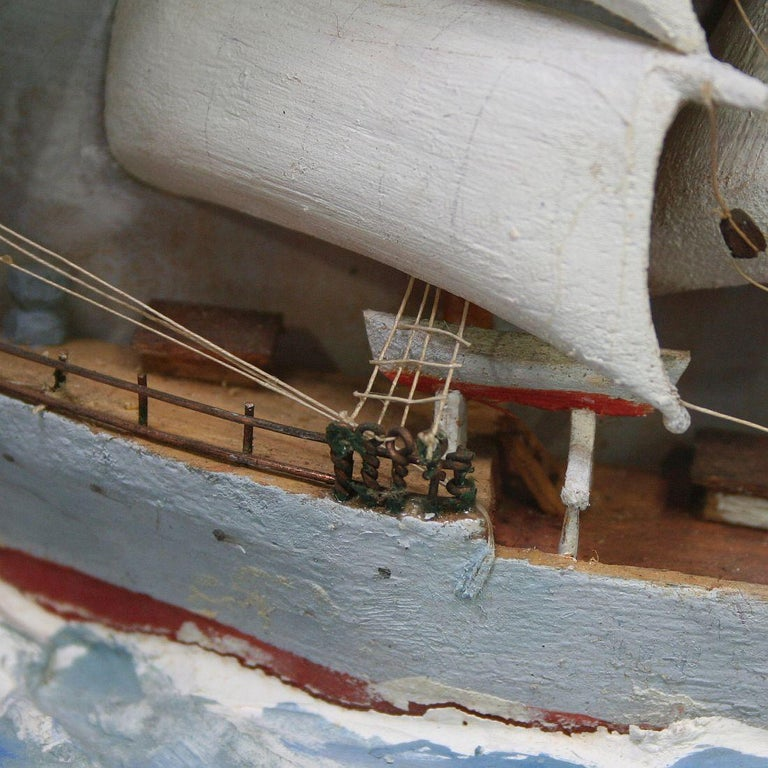French Early 20th Century Naive Ship / Boat Diorama For Sale 4