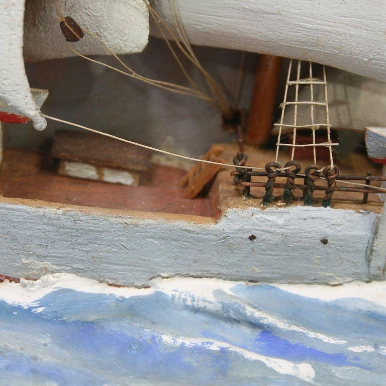 French Early 20th Century Naive Ship / Boat Diorama For Sale 5