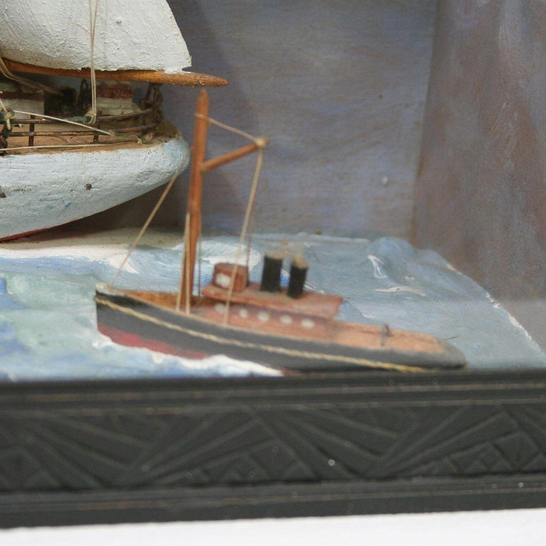 French Early 20th Century Naive Ship / Boat Diorama For Sale 8