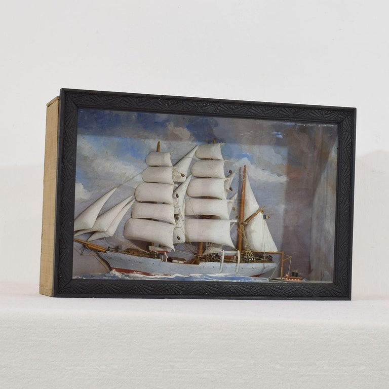 Folk Art French Early 20th Century Naive Ship / Boat Diorama For Sale