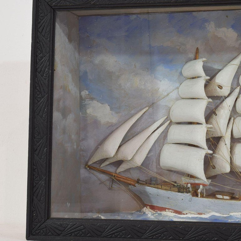Hand-Crafted French Early 20th Century Naive Ship / Boat Diorama For Sale
