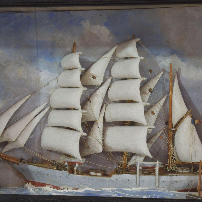 French Early 20th Century Naive Ship / Boat Diorama In Good Condition For Sale In Amsterdam, NL