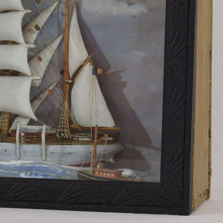 Wood French Early 20th Century Naive Ship / Boat Diorama For Sale