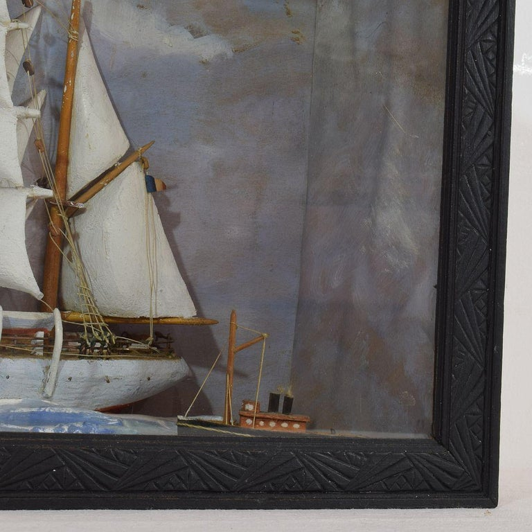 French Early 20th Century Naive Ship / Boat Diorama For Sale 1