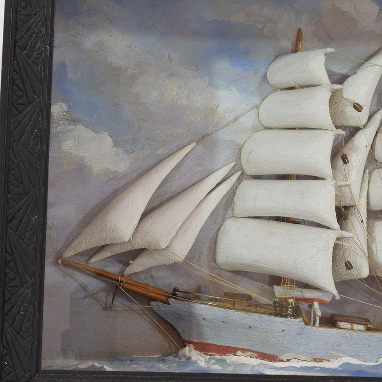 French Early 20th Century Naive Ship / Boat Diorama For Sale 3