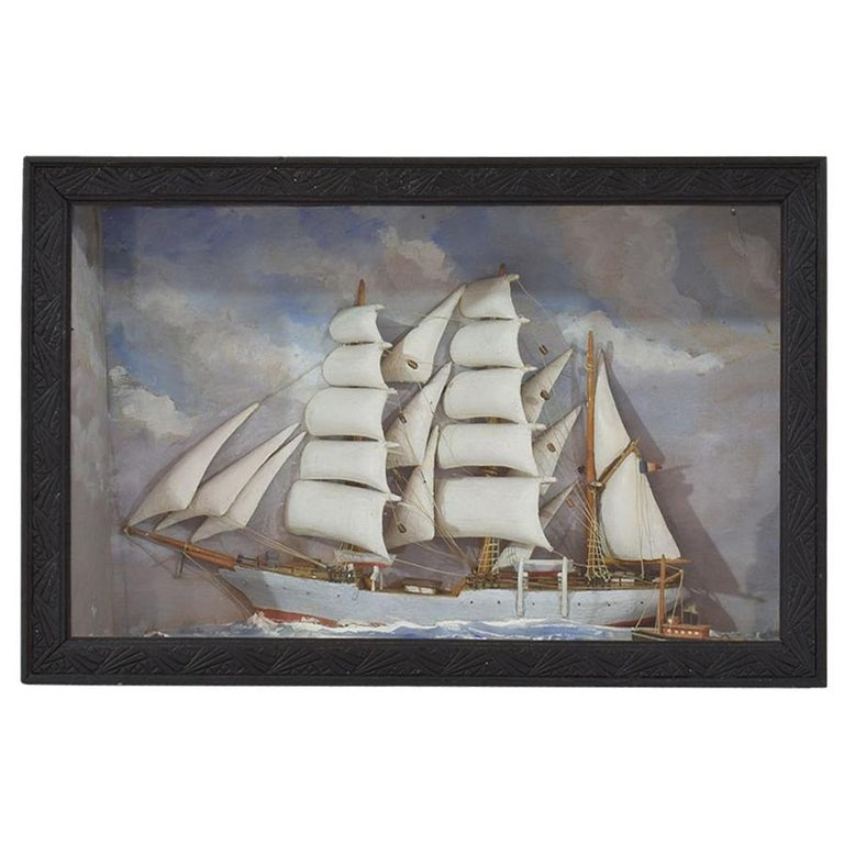 French Early 20th Century Naive Ship / Boat Diorama For Sale