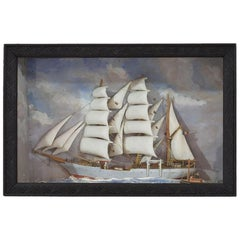 French Early 20th Century Naive Ship / Boat Diorama