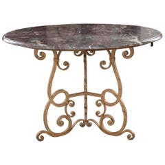 French Early 20th Century Painted Iron Table with Round Marble Top