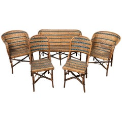 French Early 20th Century Rattan Set