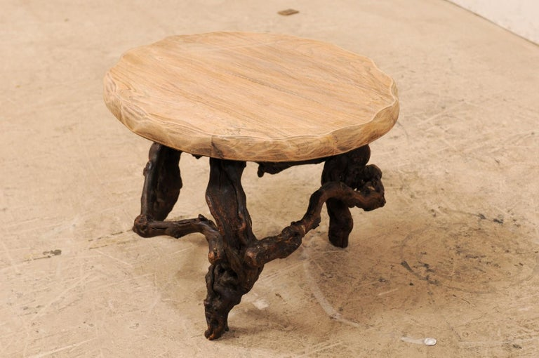 Rustic French Early 20th Century Small Wood Coffee Table with Grapevine Base For Sale