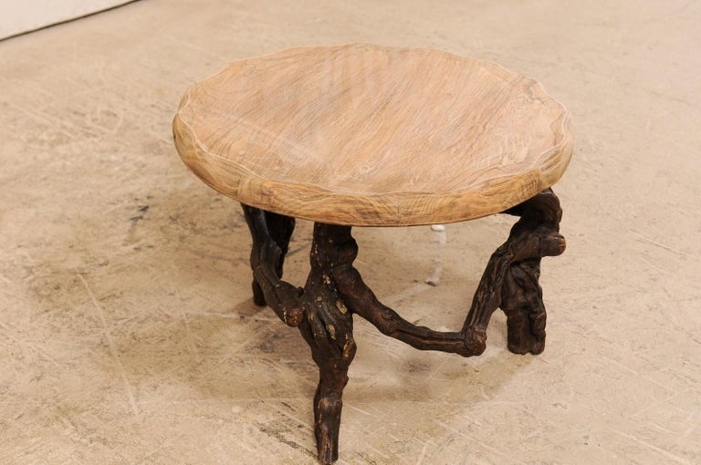 Carved French Early 20th Century Small Wood Coffee Table with Grapevine Base For Sale