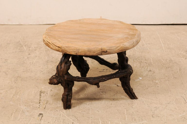 French Early 20th Century Small Wood Coffee Table with Grapevine Base In Good Condition For Sale In Atlanta, GA