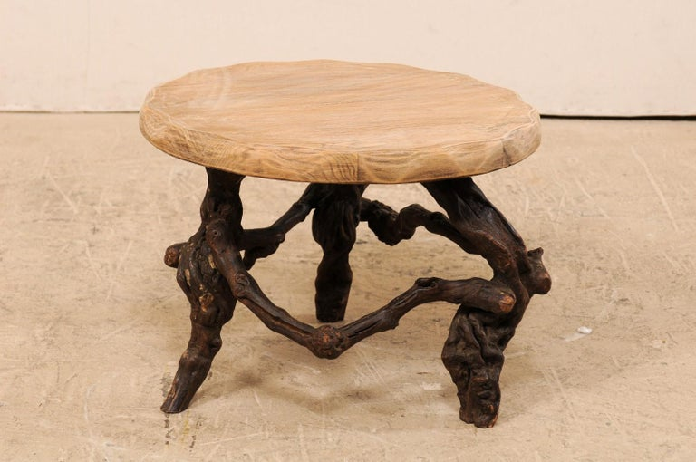 French Early 20th Century Small Wood Coffee Table with Grapevine Base For Sale 1